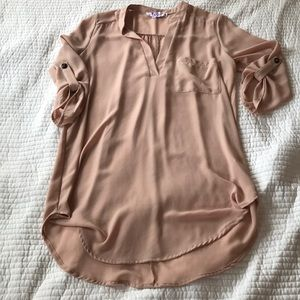 Pale pink roll tab sleeve tunic top